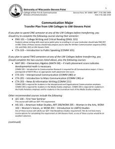 Communication Major Transfer Plan from UW Colleges to UW-Stevens Point