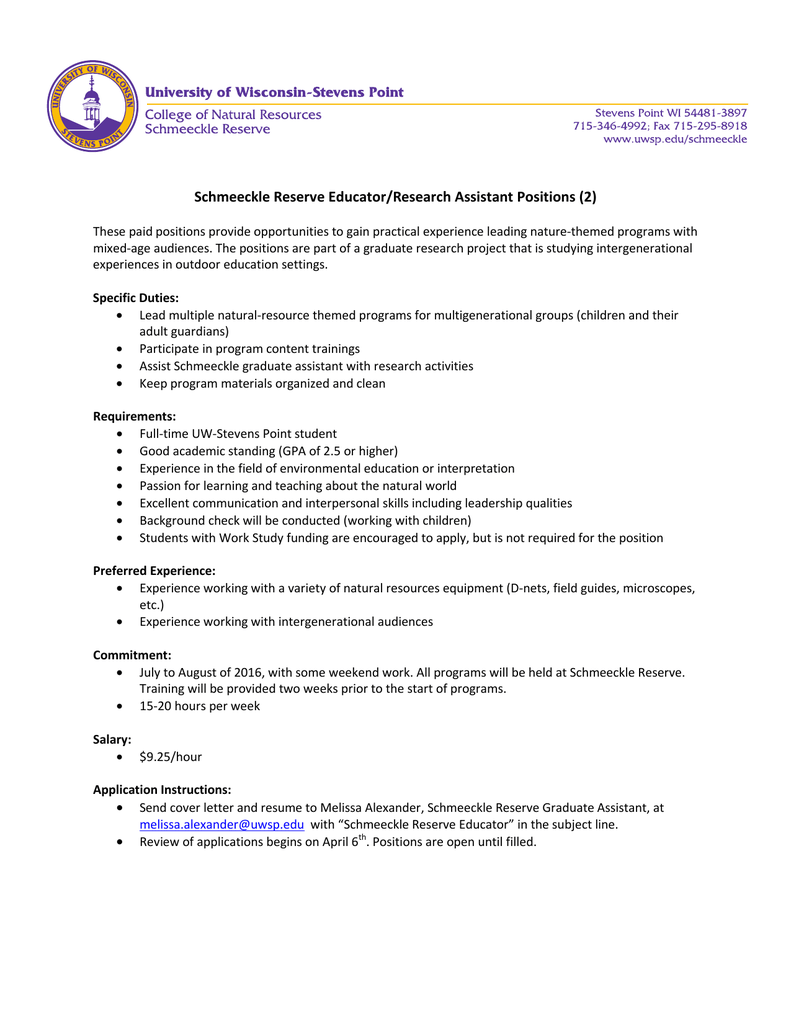 Schmeeckle Reserve Educator/Research Assistant Positions (2)