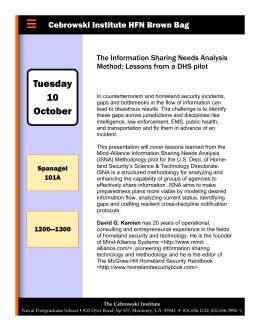 Tuesday 10 Cebrowski Institute HFN Brown Bag The Information Sharing Needs Analysis