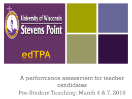 + A performance assessment for teacher candidates