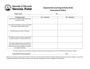 Experiential Learning Activity (ELA) Assessment Rubric  Student Name