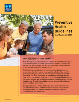 Preventive Health Guidelines As of September 2009