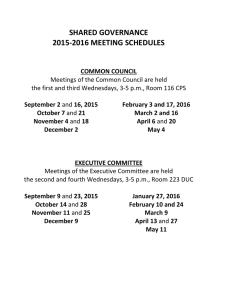 SHARED GOVERNANCE 2015-2016 MEETING SCHEDULES