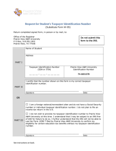 Request for Student's Taxpayer Identification Number  (Substitute Form W-9S)
