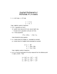 Applied Mathematics I Worksheet #1 Answers