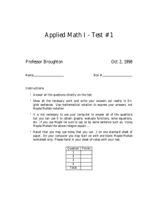 Applied Math I - Test #1 Professor Broughton Oct 2, 1998