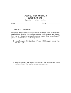 Applied Mathematics I Worksheet #1 1. Setting Up Equations