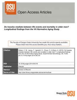 Do hassles mediate between life events and mortality in older... Longitudinal findings from the VA Normative Aging Study