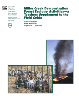 Miller Creek Demonstration Forest Ecology Activities—a Teachers Supplement to the Field Guide