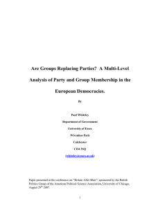Are Groups Replacing Parties?  A Multi-Level European Democracies.