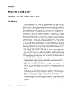 Channel Morphology Introduction Chapter 5