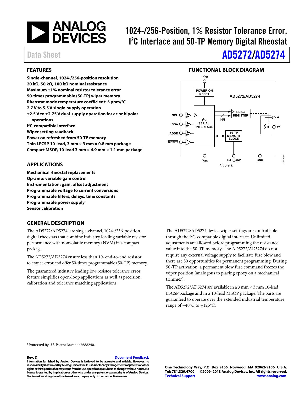 AD5272 AD5274 / 1024-/256-Position, 1% Resistor Tolerance Error,