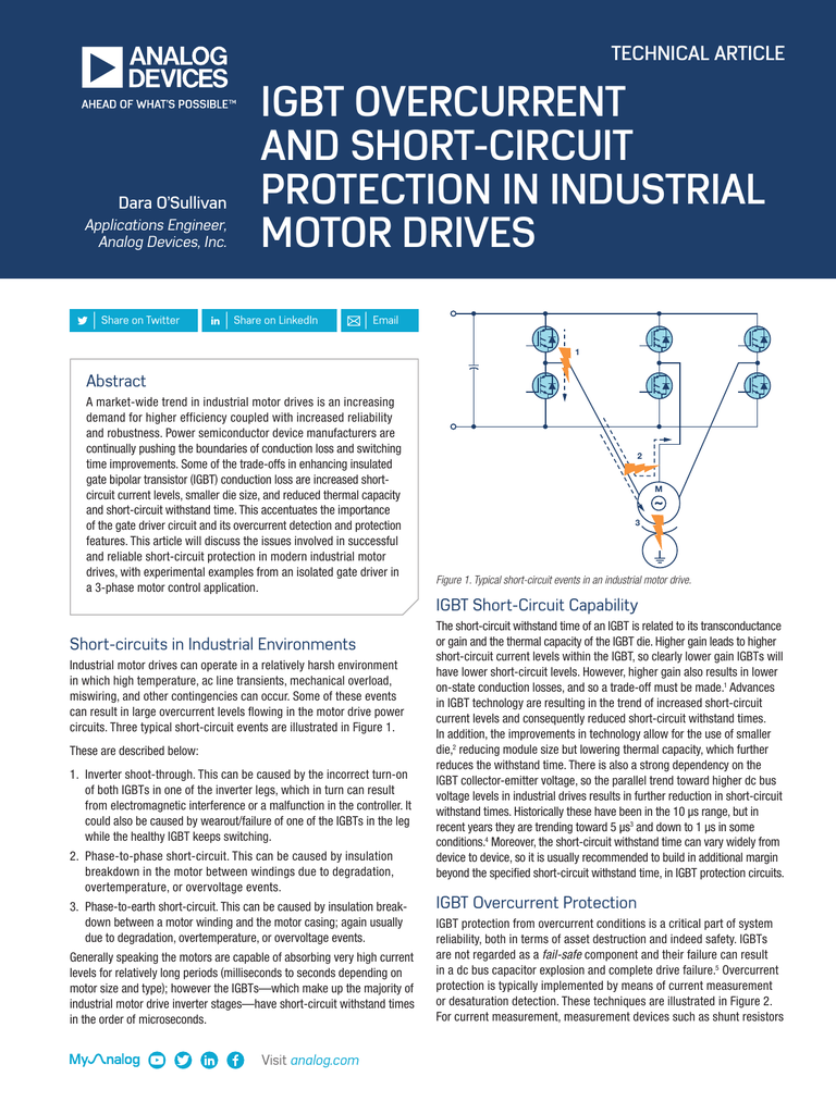 Igbt Overcurrent And Short Circuit Protection In Industrial Motor Drives