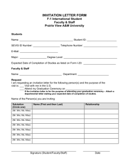 INVITATION LETTER FORM F-1 International Student Faculty & Staff Prairie View A&M University