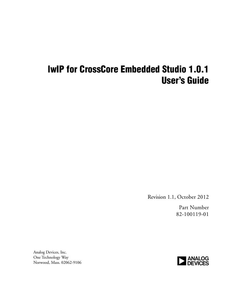 a lwIP for CrossCore Embedded Studio 1 0 1 User's Guide