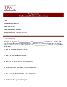 Pre-Approved Professional Reference Questions