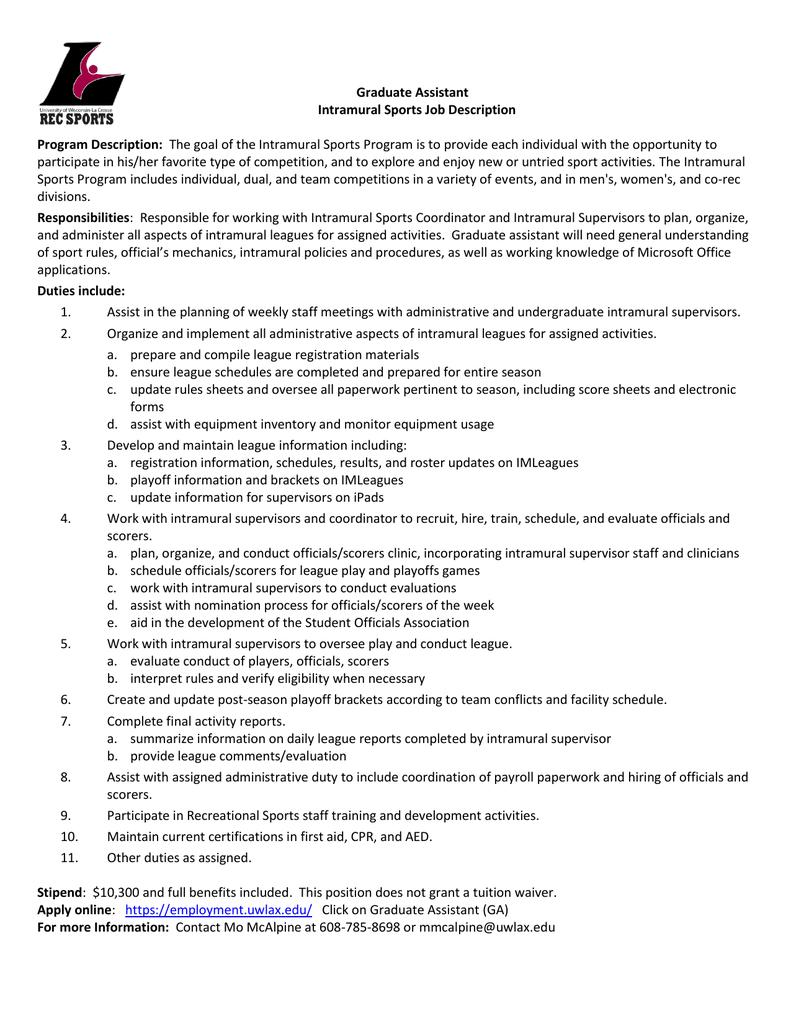 Graduate Assistant Intramural Sports Job Description Program – Payroll Job Description