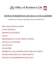 OFFICE OF RESIDENCE LIFE 2014-15 ANNUAL REPORT