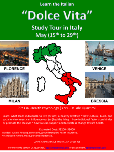 PSY334 -Health Psychology (3 cr) –Dr. Ale Quartiroli FLORENCE VENICE BRESCIA