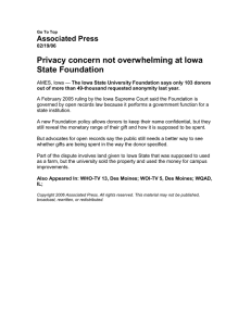 Privacy concern not overwhelming at Iowa State Foundation Associated Press