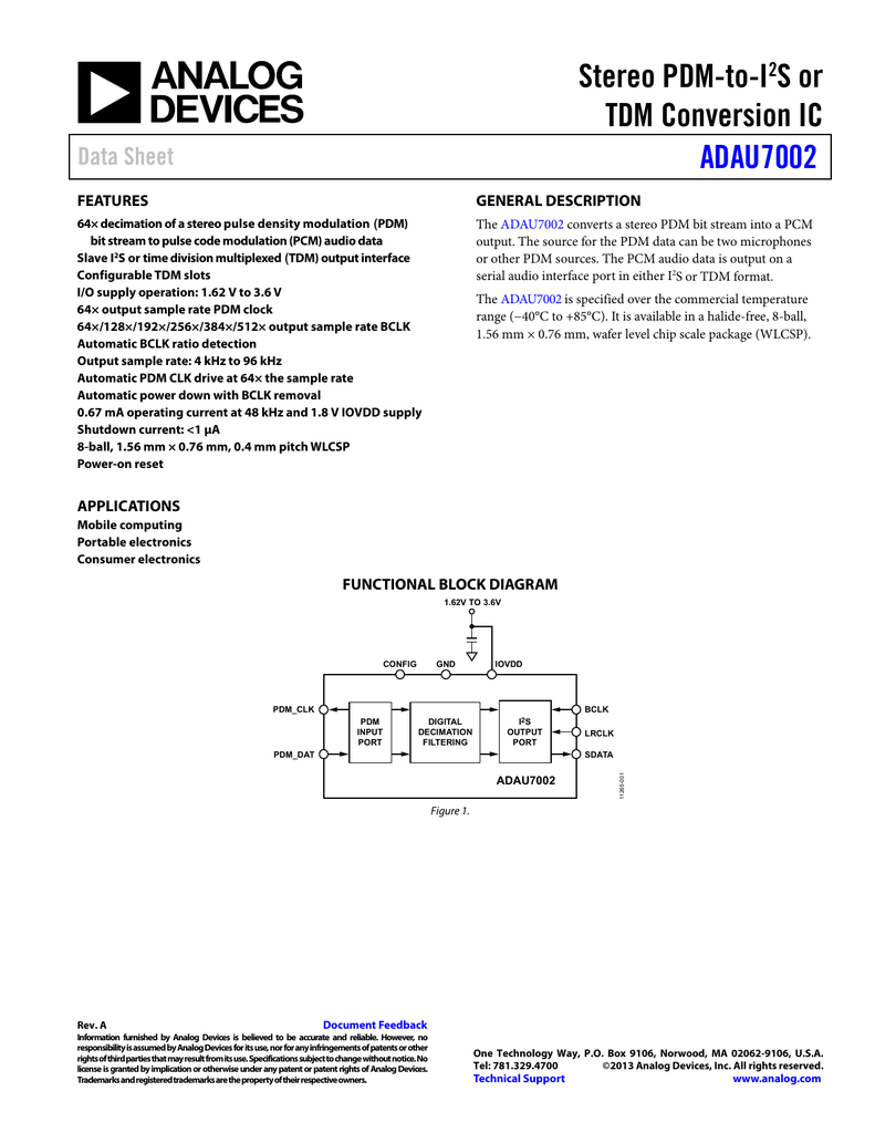 Stereo PDM-to-I S or TDM Conversion IC ADAU7002