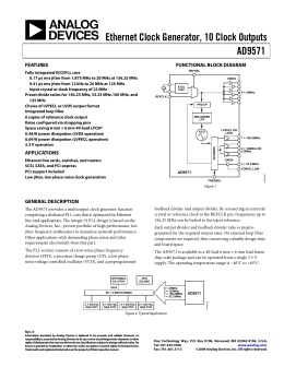 Ethernet Clock Generator, 10 Clock Outputs AD9571  FEATURES