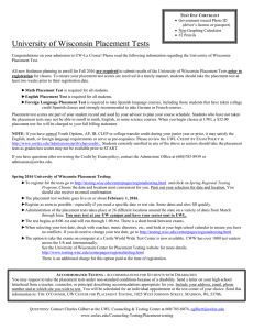 University of Wisconsin Placement Tests