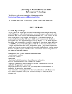University of Wisconsin-Stevens Point Information Technology LEVEL III DATA
