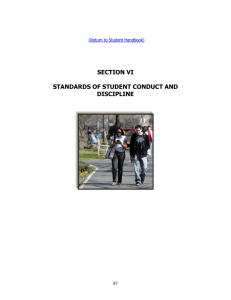 SECTION VI STANDARDS OF STUDENT CONDUCT AND DISCIPLINE