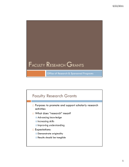 F R G Faculty Research Grants