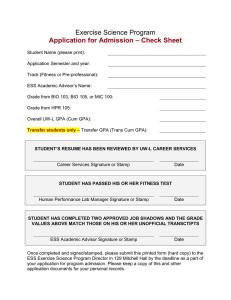Exercise Science Program – Check Sheet Application for Admission
