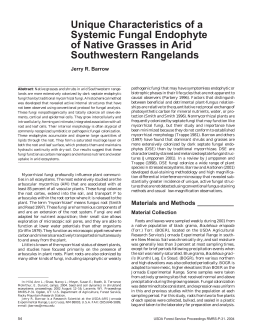Unique Characteristics of a Systemic Fungal Endophyte of Native Grasses in Arid