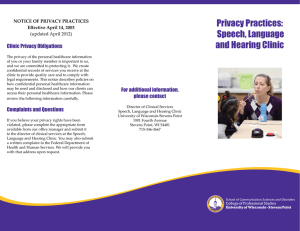 Privacy Practices: Speech, Language and Hearing Clinic Clinic Privacy Obligations
