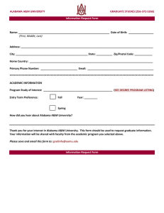 ALABAMA A&M UNIVERSITY GRADUATE STUDIES (256-372-5266) Information Request Form