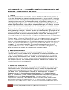 University Policy 5.1:  Responsible Use of University Computing and