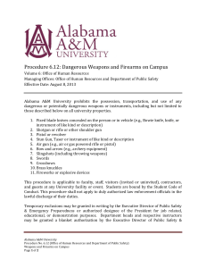 Procedure 6.12: Dangerous Weapons and Firearms on Campus