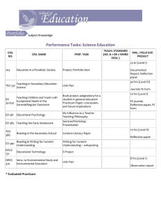 Performance Tasks: Science Education Subject Knowledge