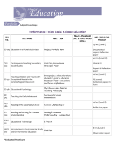 Performance Tasks: Social Science Education Subject Knowledge