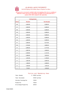 ALABAMA A&M UNIVERSITY Fall 2015/Spring 2016 Online Degree Program Fee Sheet