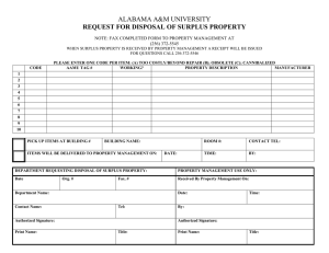 ALABAMA A&M UNIVERSITY REQUEST FOR DISPOSAL OF SURPLUS PROPERTY