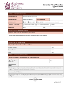 University Policy/Procedure Approval Form