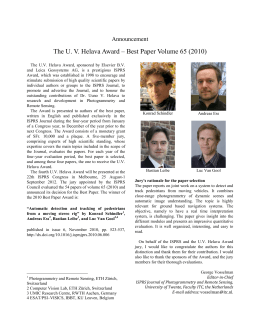 The U. V. Helava Award – Best Paper Volume 65... Announcement