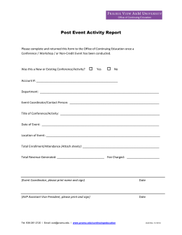 Post Event Activity Report
