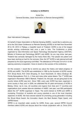 Invitation to ACRS2012 Kohei Cho General Secretary, Asian Association on Remote Sensing(AARS)