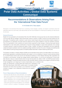 Recommendations & Observations Arising From the 'International Polar Data Forum'
