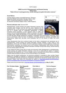 Call for papers  ISPRS Journal of Photogrammetry and Remote Sensing Theme Issue
