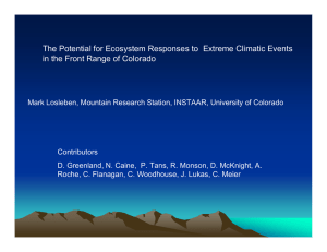 The Potential for Ecosystem Responses to  Extreme Climatic Events