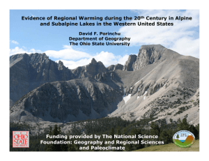 Evidence of Regional Warming during the 20 Century in Alpine