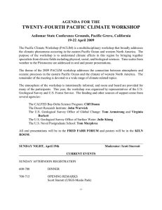 TWENTY-FOURTH PACIFIC CLIMATE WORKSHOP AGENDA FOR THE 19-22 April 2009