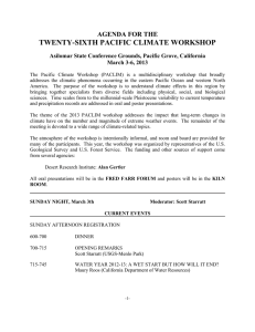 TWENTY-SIXTH PACIFIC CLIMATE WORKSHOP AGENDA FOR THE March 3-6, 2013